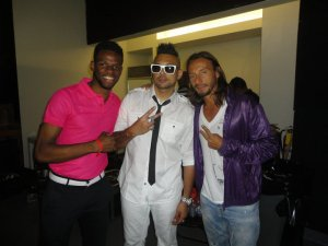 Sean Paul and Bob Sinclar posing after video shot